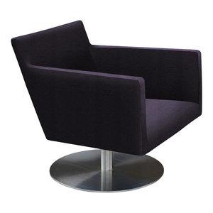 Harput Swivel Lounge Chair, Stainless Steel Base, Black Leatherette