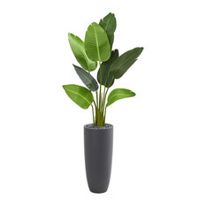 Artificial Tree, 5.5 Foot Traveler Palm Tree in Gray Planter