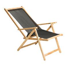 PALMAR - Demetra Sun Lounger With PVC Seat, Natural Ash - Sun Loungers