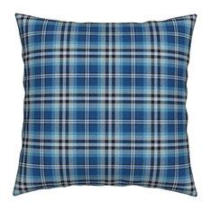 Blue Black And White Plaid White Plaid Throw Pillow, Velvet