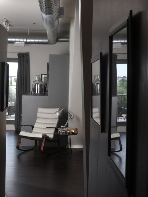 Example Of An Urban Living Room Design In Chicago With Gray Walls
