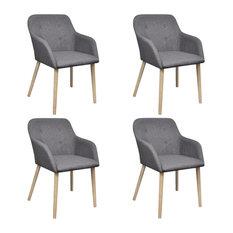 vidaXL Set of 4 Fabric Dining Chair Set With Oak Legs, Dark Grey