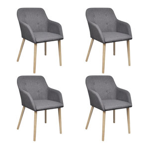 vidaXL Set of 4 Fabric Dining Chair Set With Oak Legs, Dark Grey