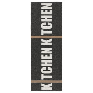 Kitchen Woven Vinyl Floor Cloth, Black, 70x200 cm