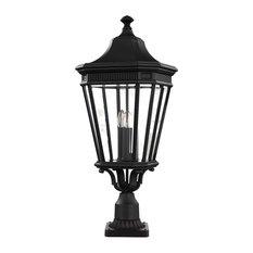 Cotswold Lane Pedestal Path Light, Black, Large