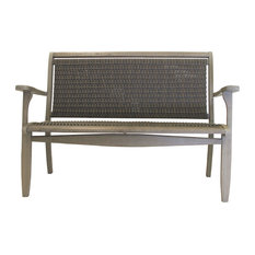 Gray Wash Eucalyptus and Driftwood Gray Wicker Bench