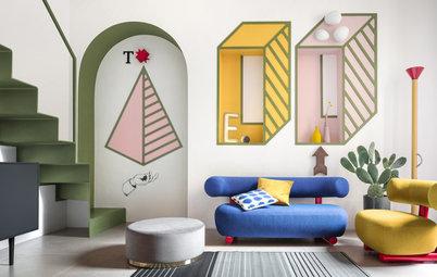 デザイン集団「メンフィス」へのオマージュ。色彩と謎解きパズルが楽しい15㎡