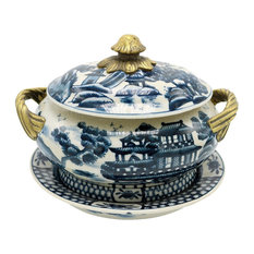 Blue and White Blue Willow Porcelain Tureen Brass Ormolu Accent 7""