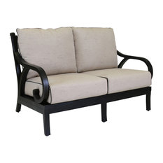 Sunset West Monterey Loveseat With Cushions, Frequency Sand With Walnut Welt