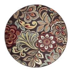Dilek Transitional Floral Brown Round Area Rug, 5' Round