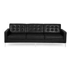 Good Kardiel   Midcentury Modern Florence Premium Aniline Leather 3 Seat Sofa,  Black   Sofas