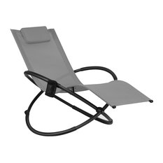 Folding Zero Gravity Lounge Chair with Removable Pillow, Gray