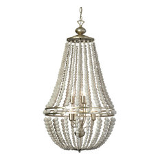 """Chandelier 6-Light Bulbs Fixture With Palladium Gold, Wood and Steel, 21"""", 360W"""