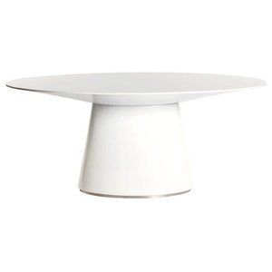White Oval Meeting Table, Wide Base