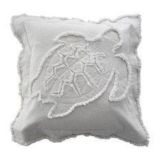 Coastal Turtle Throw Pillow, Ivory on Ivory