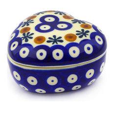"""Polmedia Polish Pottery 4"""" Stoneware Heart Shaped Jar"""