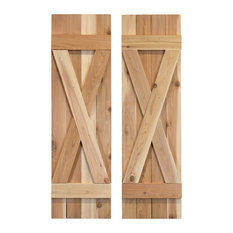 """X Board and Batten Exterior Shutters Pair, Unfinished, 60"""""""