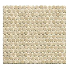 """3/4"""" Penny Rounds Mosaic, 12""""x12"""" Sheet, Beige"""