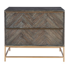 Elegant Herringbone Pieced Wood Accent Chest Dark Walnut Zig Zab Brass Bronze
