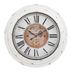 Sterling Theodore Wall Clock Antique White 351-10246