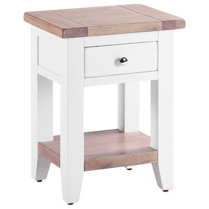 Bedside Table With Shelf, Pure White