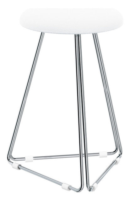 Dwba Backless Vanity Stool Bench With Chrome Metal Legs