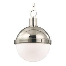 "Lambert 1-Light Pendant, Polished Nickel, 12"""