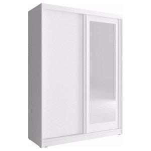 Wardrobe, Solid Wood, Mirrored Sliding Doors, Simple Modern Design, White