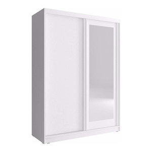 Wardrobe, Solid Wood, Mirrored Sliding Doors, Simple Modern Design, White
