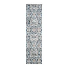 Paros Distressed Hallway Runner, Blue and Beige, 66x243 cm