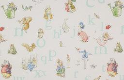 Alphabet Beatrix Potter Fabric, Aqua