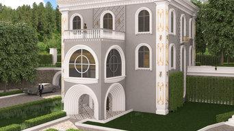Загородный дом в восточном стиле из кирпича