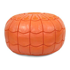 Moroccan Leather Stuffed Pouf, Orange