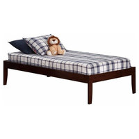 Traditional Open Foot Bed Frame Twin Size, Solid Hardwood, Antique Walnut