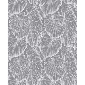 Tropical Floral Wallpaper, Pewter, Roll