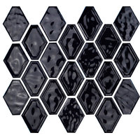 "12""x12"" Glazed Ceramic Diamond Mosaic Tile, Black"