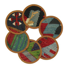 Kilim Coasters, Denim and Multi, Set of 6