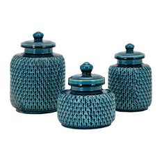 Imax Clay and Glaze 3-Piece Set Canisters, Teal Finish