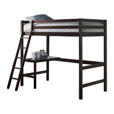 NE Kids Caspain Twin Loft Bed with Desk in Chocolate