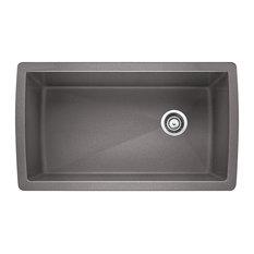 "Blanco 441764 18.5""x33.5"" Granite Single Undermount Kitchen Sink, Metallic Gray"
