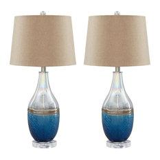 "Johanna Blue/Clear 28"" Glass Table Lamp Set of 2"