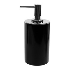 Round Free Standing Soap Dispenser, Resin, Black