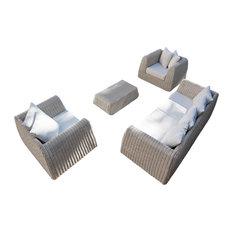 Cactus Four-Piece Outdoor Lounge Set, White Wash