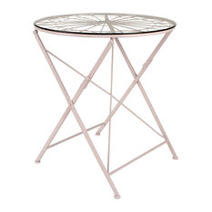 Thrapston Geometric Metal and Glass Folding Round Dining Table, Pink