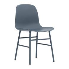 Normann Copenhagen Form Chair, Lacquered Steel Legs, Blue