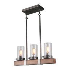 LNC 3-Light Linear Chandeliers Wood Kitchen Island Lighting