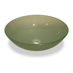 Frosted Green Glass Vessel Sink - No Overflow Valve