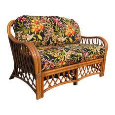 Montego Bay Love Seat in Cinnamon, Astrid-Geranium Fabric