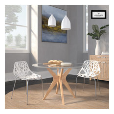Leisuremod Modern Asbury Dining Chair With Chromed Legs Set Of 2 White