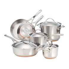 Anolon - Nouvelle Copper Stainless Steel 10-Piece Cookware Set - Cookware Sets